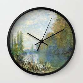 The Banks of The Seine in Autumn by Claude Monet Wall Clock