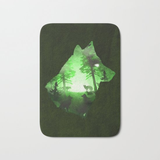 Green Wolf Bath Mat