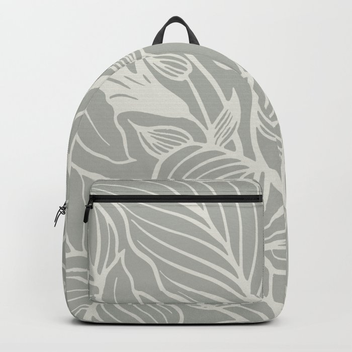 Gray Grey Floral Backpack