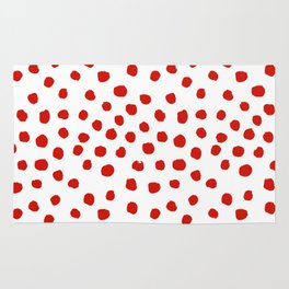 Christmas dots painted minimalist dotted pattern holiday red and white Rug