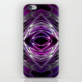 Free-flowing Abstract Violet Magenta White Lines on Black iPhone Skin