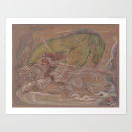 Dominating the dragon. Art Print