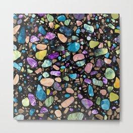 Terrazzo - Gemstones and Gold - Black Marble Metal Print