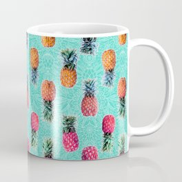 From Pineapple to Pink - tropical doodle pattern on mint Coffee Mug
