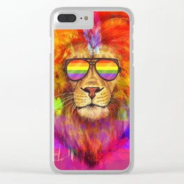 Rainbow Lion Pride Clear iPhone Case