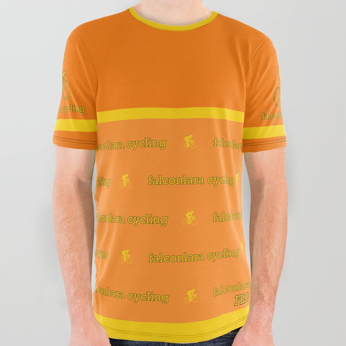 FLD Cycling Orange + Yellow Stripe All Over Graphic Tee