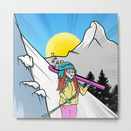 Skiing Switzerland Cartoon Metal Print