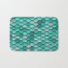 Aqua & mint mermaid glitter scales - Luxury mermaidscales Bath Mat