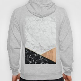 Geometric White Marble - Black Granite & Wood #711 Hoody