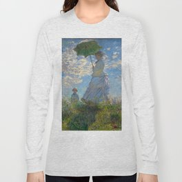 """Claude Monet """"Woman with a Parasol - Madame Monet and Her Son"""" Long Sleeve T-shirt"""