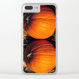 Twin Vintage Pumpkins Clear iPhone Case