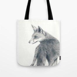 Red fox in graphite Tote Bag