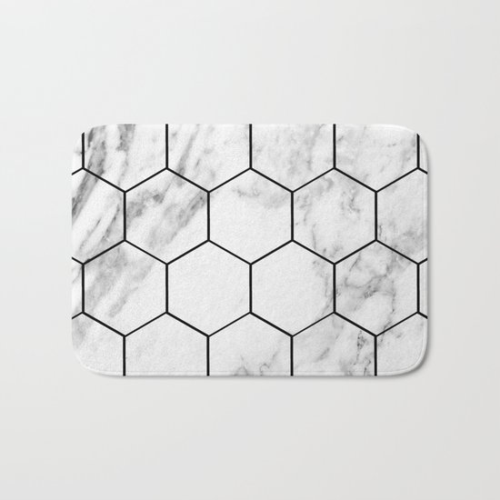 Marble hexagonal tiles - geometric beehive Bath Mat