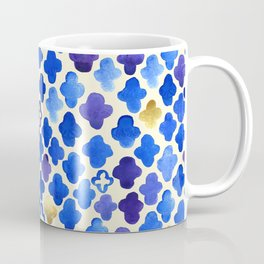 Rustic Watercolor Moroccan in Royal Blue & Gold Coffee Mug