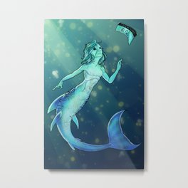 Tiger Shark Mermaid Metal Print