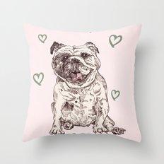 Happy Bulldog Throw Pillow