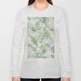 Green Tropical Leaves Long Sleeve T-shirt