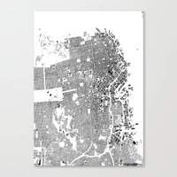 san francisco map Canvas Prints featuring San Francisco by Maps Factory