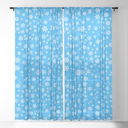 Snowflakes on Light Blue Sheer Curtain