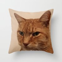 levi Throw Pillows featuring Levi the Cat by Sean Foreman