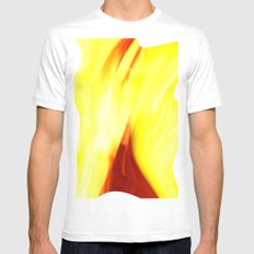 Abstract Art - Yellow & Red Mens Fitted Tee White MEDIUM