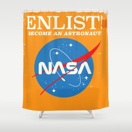 "NASA Enlist! Become an Astronaut ""Travel to Mars"" Shower Curtain"