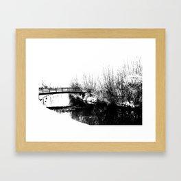 Bridge and Stream Winter Scene Framed Art Print