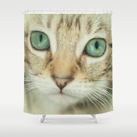 alisa burke Shower Curtains featuring FELINE BEAUTY by Catspaws