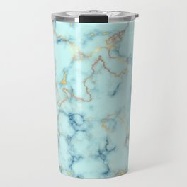 Marble pattern teal blue and gold Travel Mug
