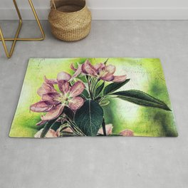 Rustic Dark Pink Flowers Modern Cottage Chic Country Art A139 Rug