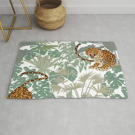 Leopards in the jungle pattern. Rug