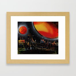 Moonlight Over The Shifting City Framed Art Print