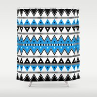 pacific rim Shower Curtains featuring Pacific by voop