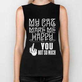 make me happy - Funny Cat Saying Biker Tank