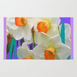 WHITE-GOLD NARCISSUS FLOWERS LAVENDER GARDEN Rug