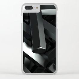Pile of black hexagon details Clear iPhone Case