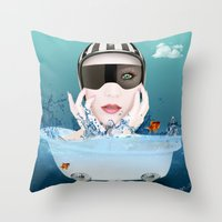 3d Throw Pillows featuring 3D by mark ashkenazi
