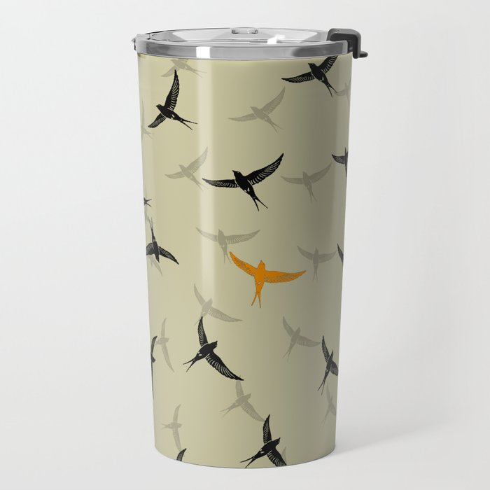 spiral birds Travel Mug