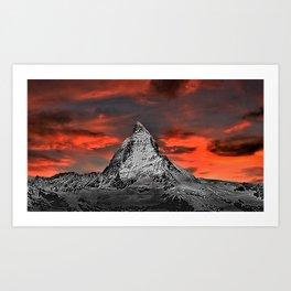 Matterhorn of Zermatt, Switzerland at sunset Art Print