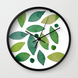 Leaves & berries watercolour Wall Clock