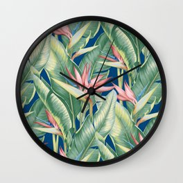 Flowers Birds of Paradise Wall Clock