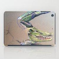 crocodile iPad Cases featuring Crocodile by Jeanne Hollington