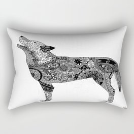 Henna-Inspired Wolf Rectangular Pillow