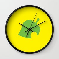 animal crossing Wall Clocks featuring Animal Crossing New Leaf by mimibun