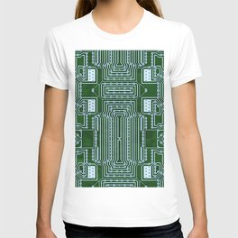 Green Geek Motherboard Circuit Pattern T-shirt