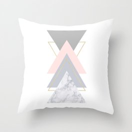 Blush Marble Gray Gold Geometric Pattern Throw Pillow
