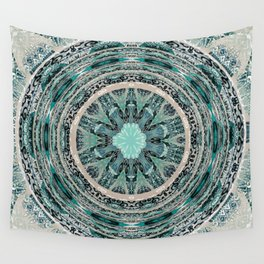 Universal Healing Mandala Beige and teal Wall Tapestry