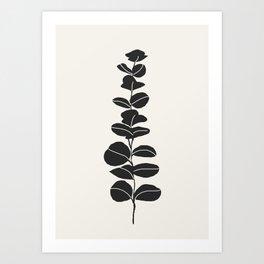 Minimal Eucalyptus Line Art Art Print