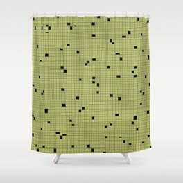 Light Green and Black Grid - Missing Pieces Shower Curtain