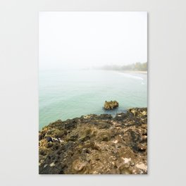 Bay of Pigs Playa Larga Cuba Caribbean Sea Ocean Beach Geology Limestone Tropical Island Fog Mist Ne Canvas Print